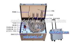 Economical portable dental unit with built-in air compressor