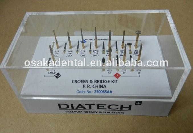 Dental Coltene Diatech Gold Diamond Burs Crown Bridge Golden Bur Kit