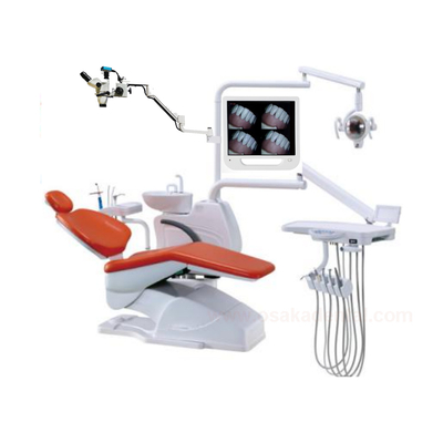 Dental chair with microscope with camera monitor set